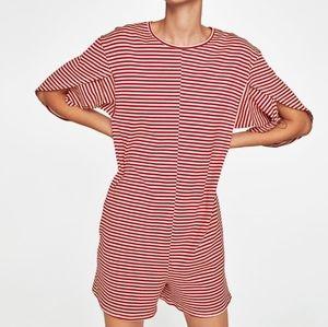 ZARA striped playsuit/romper cream and red